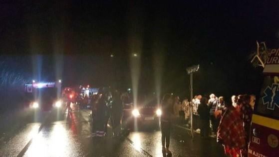 Accident în România. Un autocar cu 72 de persoane care venea din Spania s-a răsturnat
