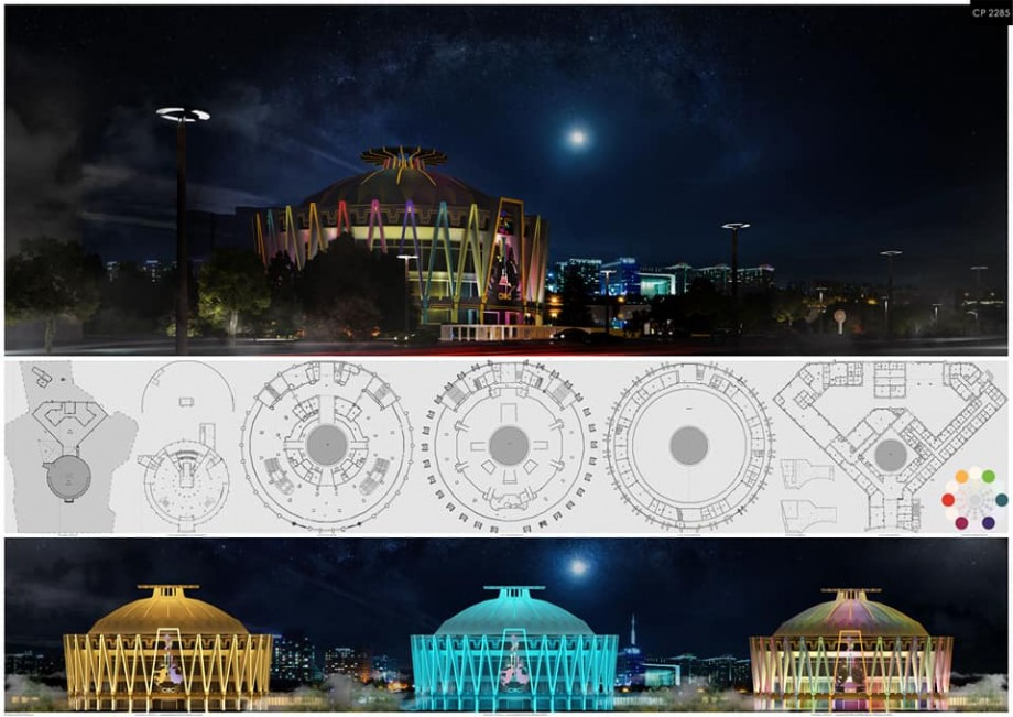 (foto) Cum ar arăta Circul din Chișinău dacă clădirea ar fi iluminată. O echipă de la UTM a realizat un proiect colorat pentru oraș
