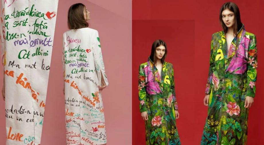 (foto) Inspirată de poezia lui Stănescu. Moldoveanca Irina Madan și-a lansat colecția de paltoane pictate manual la Fashion Week San Diego