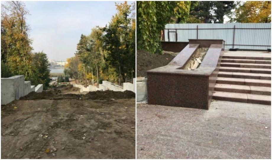 """(foto) Cum decurg lucrările de reconstrucție a scărilor de granit din Parcul """"Valea Morilor"""""""