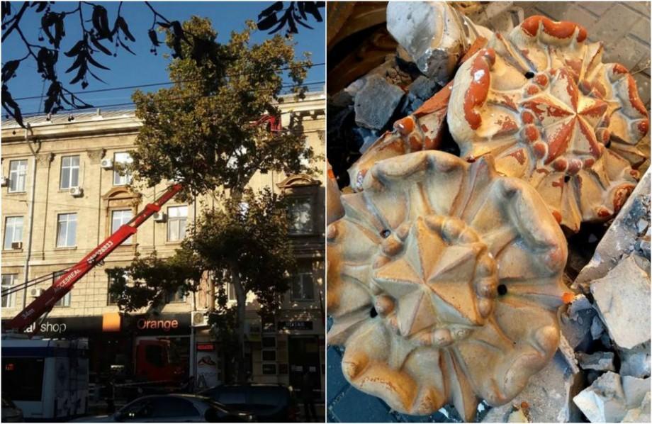 (foto) Ornamentele arhitectonice sovietice sunt demontate de pe clădirile din centrul Capitalei