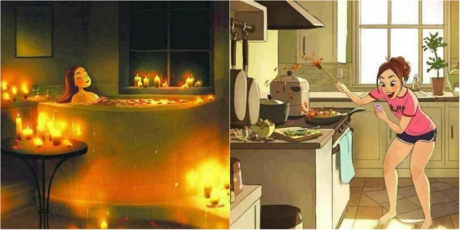 (ilustrații) Muzică la miezul nopții și ore în șir petrecute în baie. Cum arată armonia de a locui singură în casă