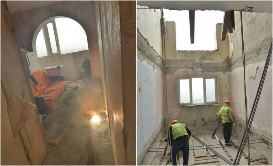 (foto) Imagini noi din apartamentul afectat de explozie. Cum decurg lucrările de construcție a primului planșeu