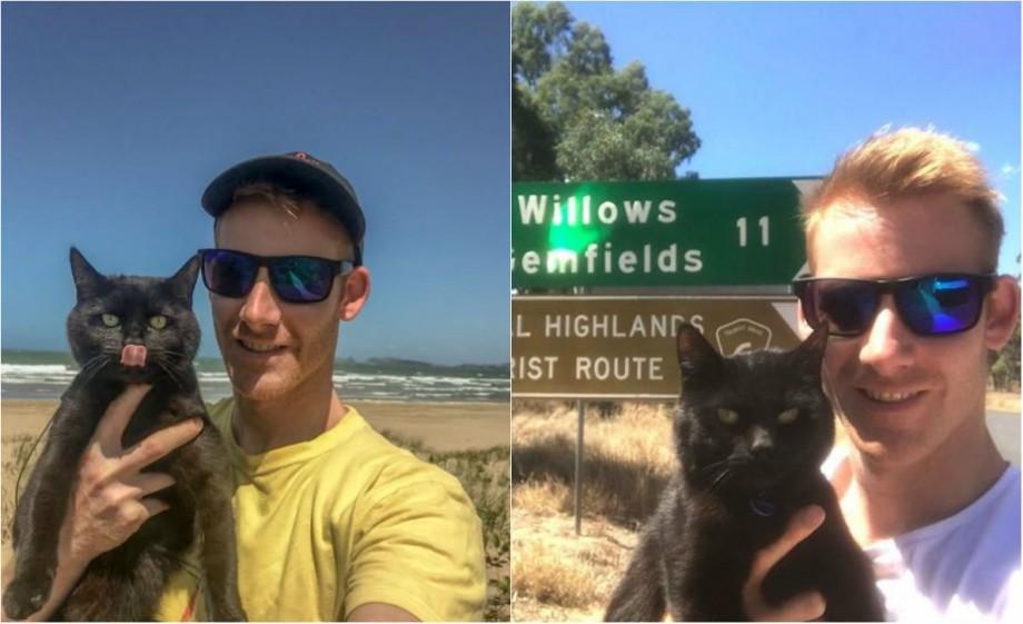 (foto) O mașină, o pisică și 70 mii de km. Un tânăr din Tasmania călătorește prin Australia cu felina sa