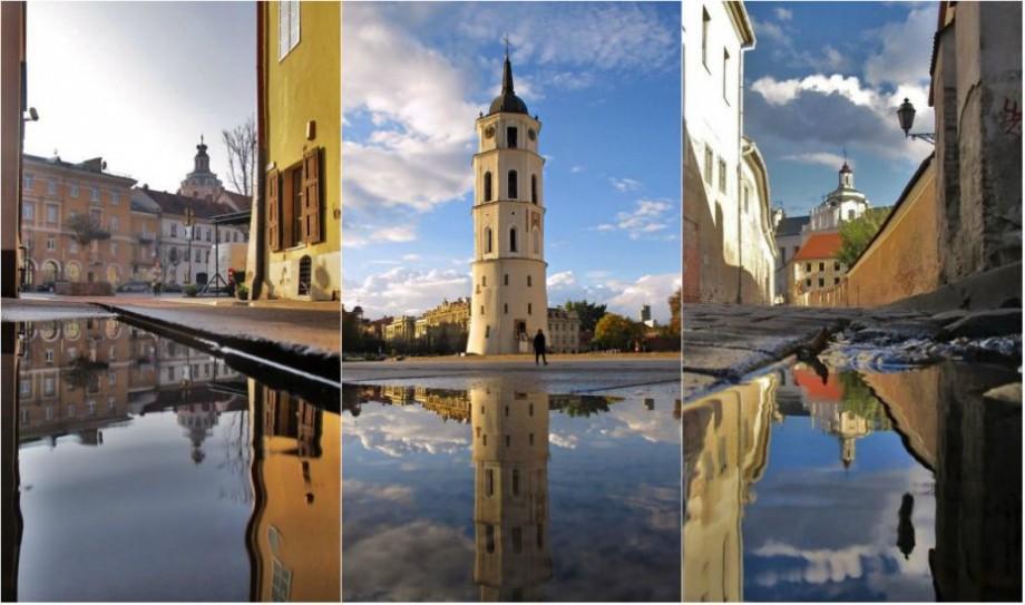 (foto) Străzile Vilniusului s-au transformat în niște oglinzi misterioase. Cum arată capitala Lituaniei după ploaie