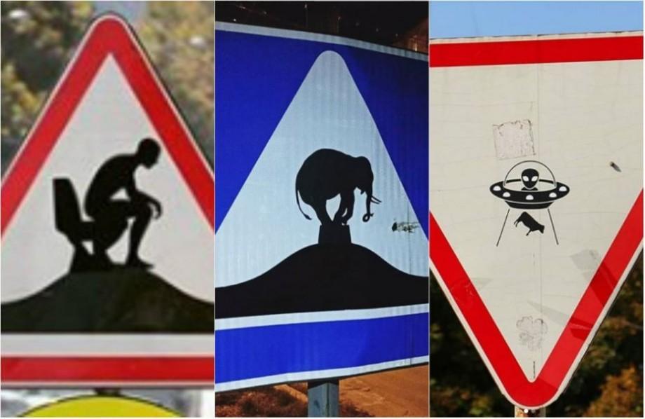 Semne de circulație în loc de pânză. Cum comentează ideea proiectului său artistul care lipește stickere pe indicatoare rutiere