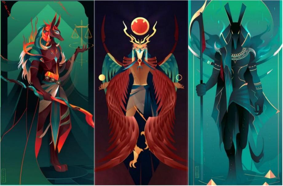 (foto) Zeul soarelui, al morții și al haosului. Un ilustrator francez desenează divinitățile Egiptului antic