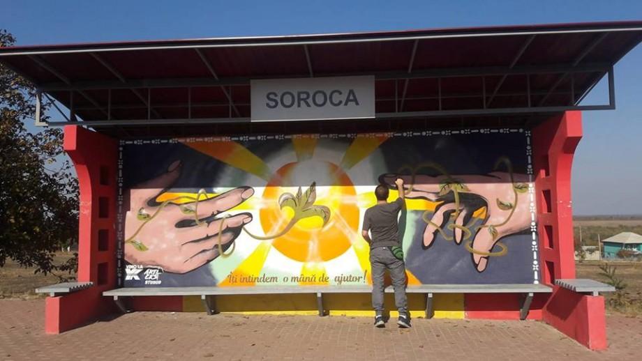 """(foto) Street Art în Soroca. O stație de la intrarea în oraș """"a prins viață"""" datorită culorilor"""