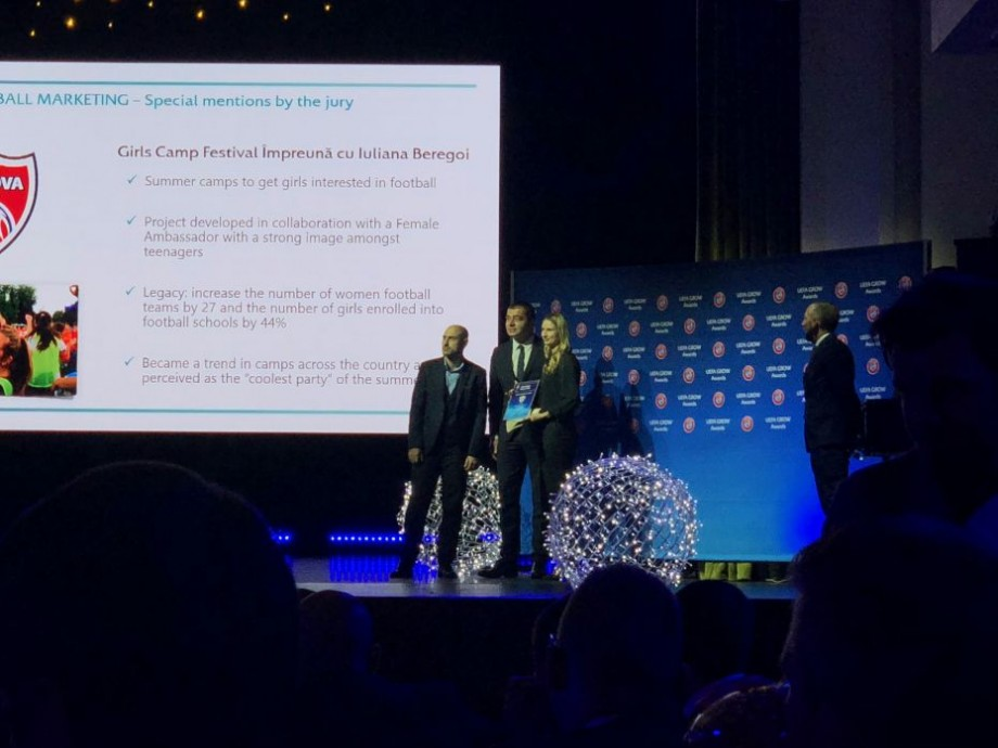 (foto) Federația Moldovei de Fotbal a fost decorată în cadrul galei de premiere UEFA GROW Awards 2018. Ce premiu a primit aceasta