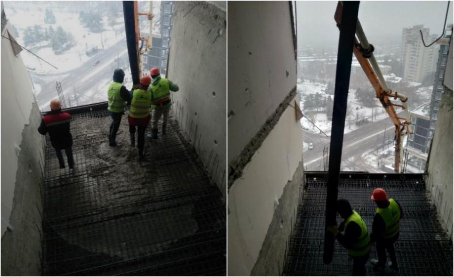 (foto) Al treilea planșeu al blocului de locuințe afectat de explozie pe bulevardul Moscovei a fost restabilit