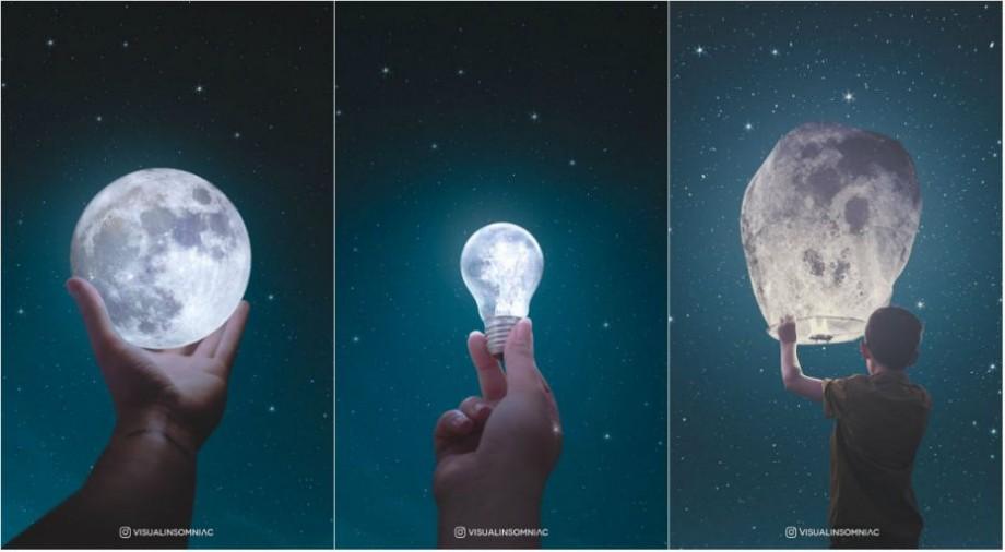(foto) Dragostea față de lună. Un artist vizual din Indonezia crează opere de artă cu ajutorul Photoshop-ului