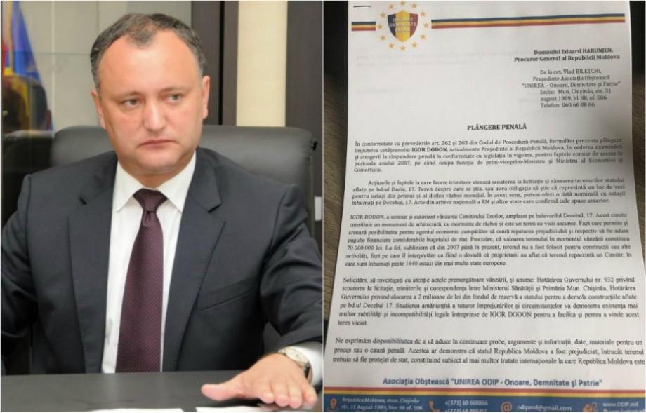 """(video) Membrii """"UNIREA-ODIP"""" au depus o plângere la Procuratura Generală pe numele Președintelui Igor Dodon"""