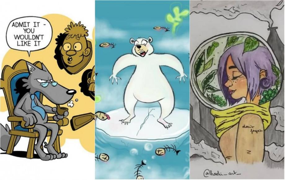 (foto) Braconajul, poluarea apelor și defrișarea copacilor. Cum arată problemele mediului prin imaginile artiștilor ilustratori din întreaga lume