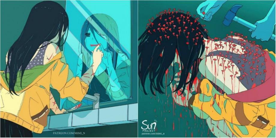 (foto) Anxietatea, depresii și boli mintale. Cum arată suferințele oamenilor într-o serie de ilustrații terifiante