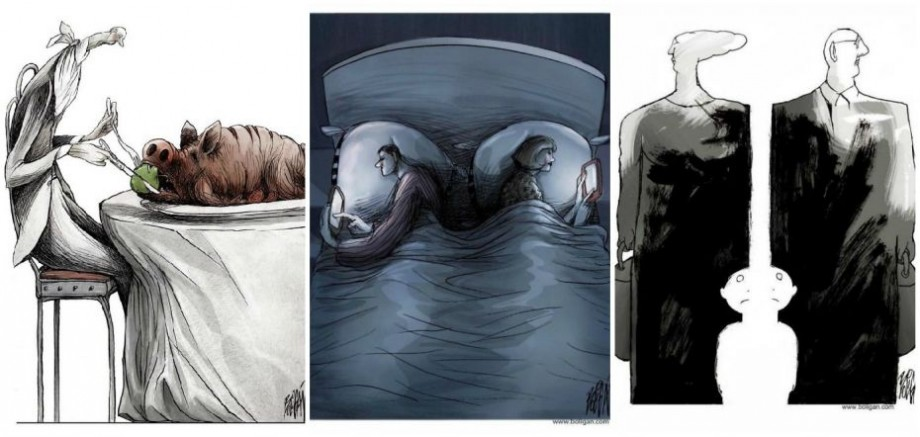 (foto) Problemele societății contemporane expuse în 25 de ilustrații realizate de artistul cubanez Angel Boligán