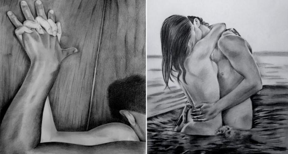 (foto) Senzualitate și pasiune în scenele intime ale cuplurilor. Cum arată dragostea desenată cu creionul
