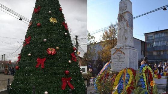 """(foto) """"Stă la căldurică"""". Statuia Eroilor dintr-o comună din România a fost transformată într-un brad de Crăciun"""