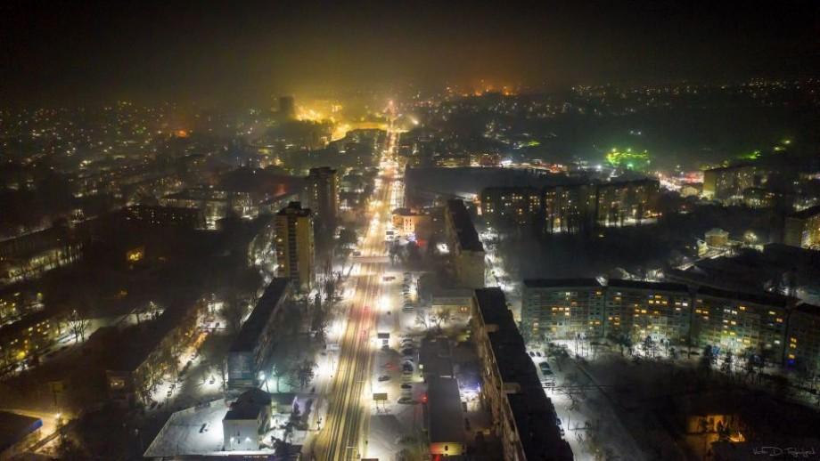 (foto) Orașul Bălți așa cum nu l-ai mai văzut vreodată. A fost fotografiat noaptea la înălțimea unui zbor de pasăre