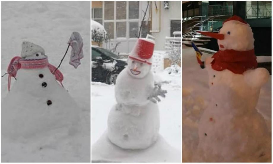 (foto) Cu morcov în loc de nas și căldări pe post de pălărie. Primii oameni de zăpadă au apărut pe străzi