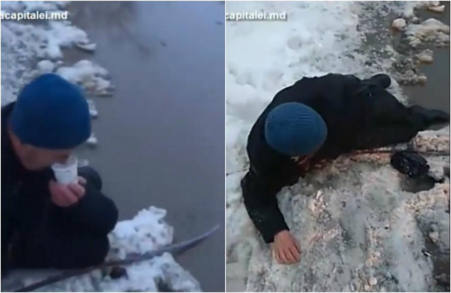 """(video) Intervenție promptă. Poliția capitalei a """"salvat de la înec"""" o persoană în plină stradă"""