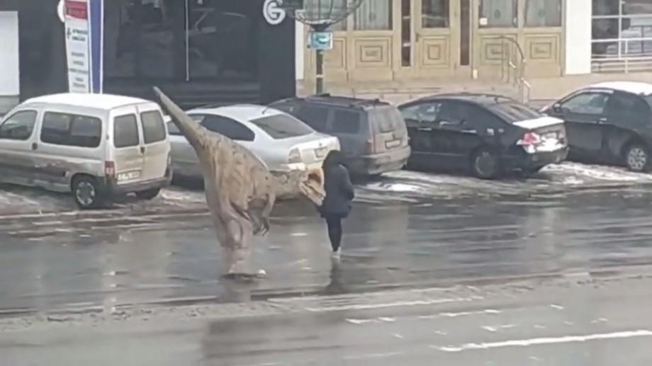 """(video) """"Chiar și ei știu cum să treacă strada"""". Un dinozaur a fost surprins pe o trecere de pietoni din Chișinău"""