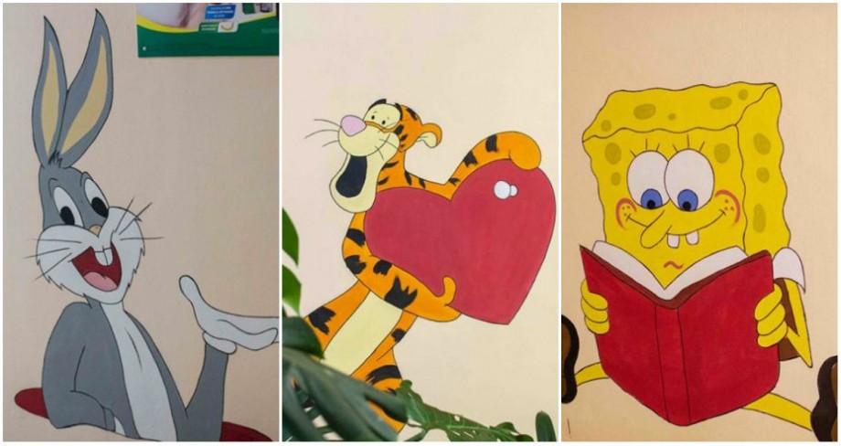 (foto) Winnie Pooh, Bugs Bunny și Smurfs. Artiștii de la Chișinău is Me au adus eroii preferați din desenele animate la Spitalul Clinic nr.1