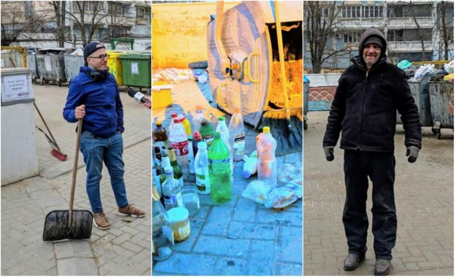 """(foto) """"Gândind din container"""". Istoriile unui gunoier voluntar care a decis să facă viața mai frumoasă chișinăuienilor și celor de la salubritate"""