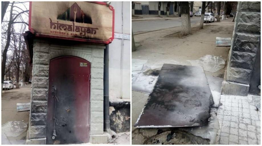 (foto) În centrul Chișinăului a apărut un restaurant nepalez și în prima zi cineva i-a dat foc la ușă
