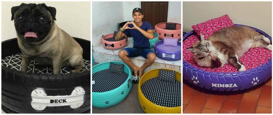 (foto) Reciclare drăguță. Un tânăr din Brazilia transformă anvelopele vechi în pătucuri pentru animale