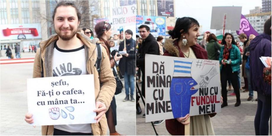 """(galerie foto) """"Șefu', fă-ți o cafea cu mâna ta"""". Cu ce pancarte au ieșit oamenii la Marșul Solidarității din Chișinău"""