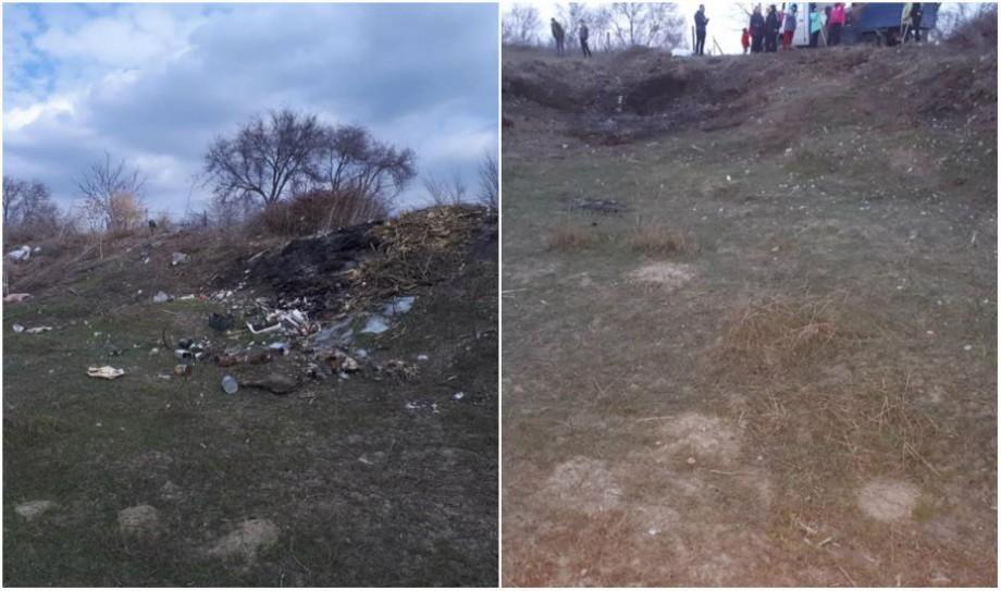 (foto) Înainte și după. Cum a decurs provocarea curățeniei într-un sat din Moldova