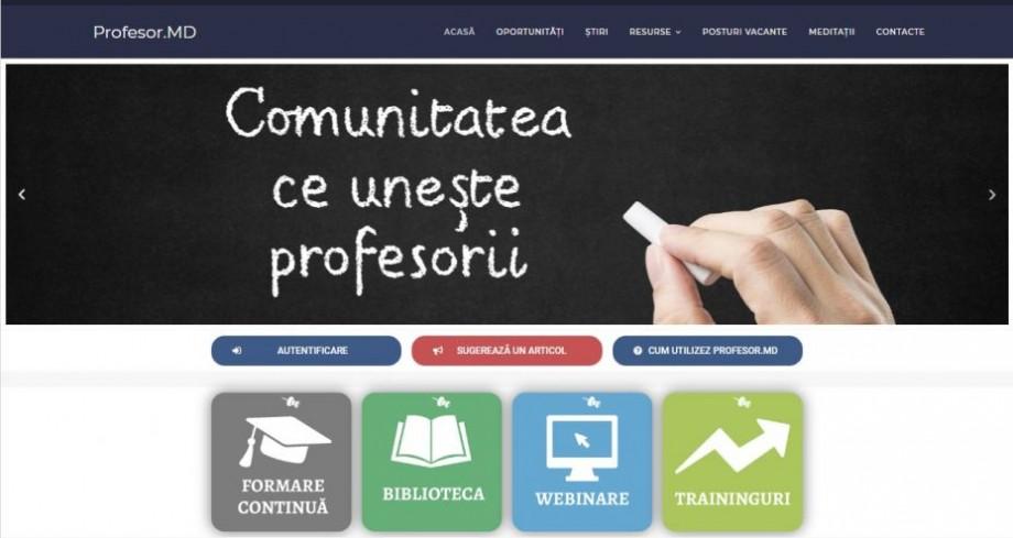 A fost lansată platforma Profesor.md, proiect din Moldova dedicat tuturor cadrelor didactice din țară