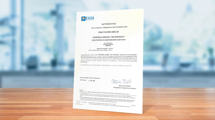 UE a certificat Air Moldova drept companie ce corespunde tuturor standardelor sale de calitate și siguranță