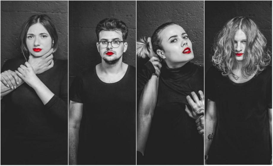 """(foto) """"Nu, înseamnă nu"""". Actorii de la Night Guguță poartă ruj roșu și marchează luna sensibilizării opiniei publice cu privire la hărțuirea sexuală"""