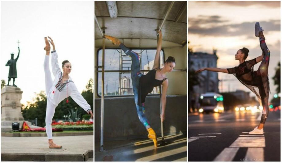 (foto) Chișinăul, ia tradițională și baletul. O tânără conturează specificul orașului prin intermediul mișcărilor de dans