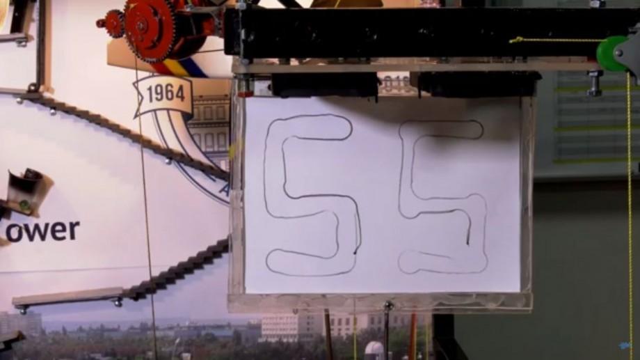 """(video) Au afișat numărului 55 pe o foaie în cel mai inedit mod. Cine sunt învingătorii competiției """"Rube Goldberg"""""""