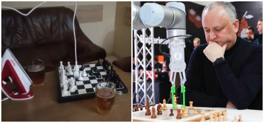 """(video) """"Am jucat simplu, la câștig"""". Cum parodiază internauții meciul de șah dintre Igor Dodon și un robot"""