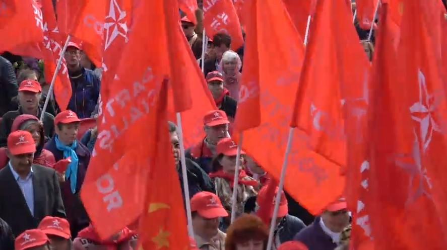 """(video) """"Mir, Trud, Mai"""". Partidul Socialiștilor organizează un marș de 1 mai"""