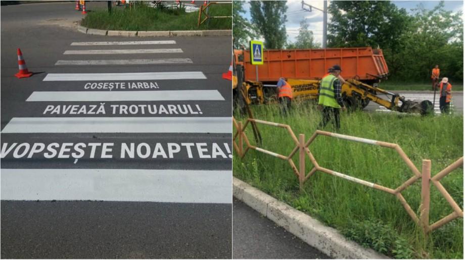 """(foto) """"Cosește iarba"""" sau """"Vopsește noaptea"""". Cum au reacționat locuitorii Capitalei la noile treceri pentru pietoni"""