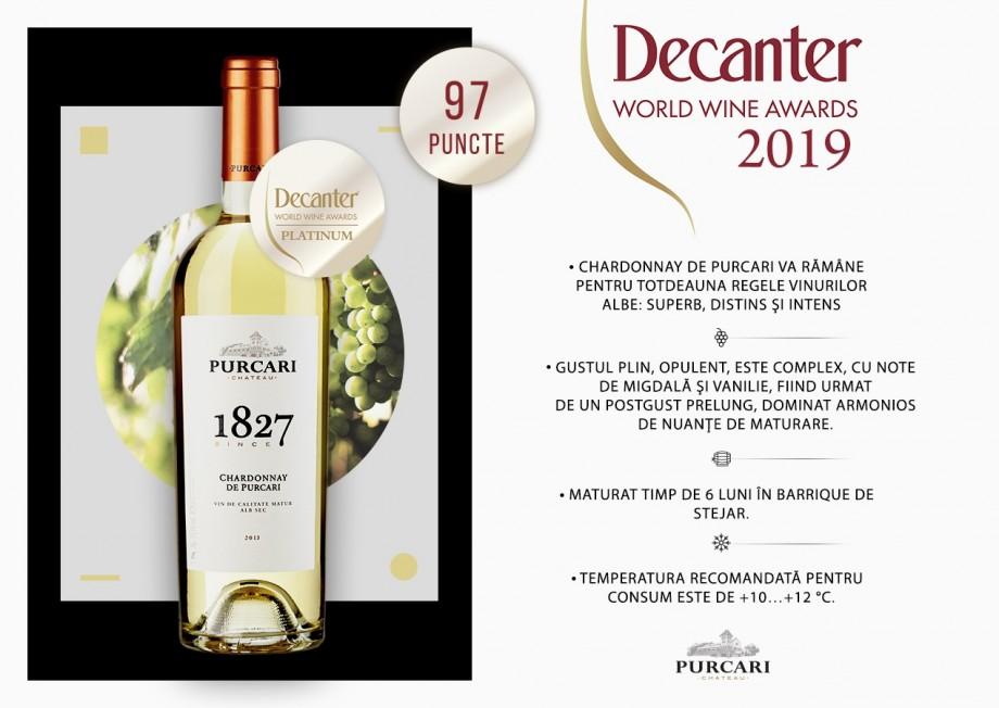 În premieră, un vin din Moldova a obținut medalia Platinum la Decanter Londra. Performanța îi aparține vinăriei Purcari