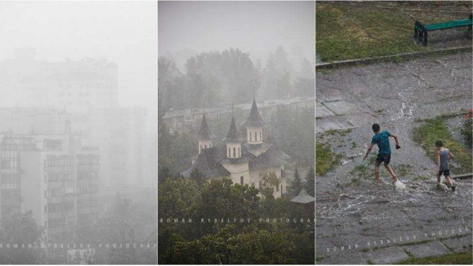 (foto) Povestea picăturilor de ploaie într-o zi de vară. Cum s-au văzut aversele prin prisma obiectivului lui Roman Rybaleov