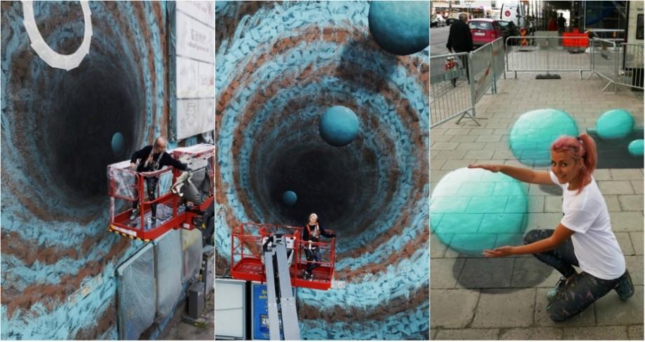 """(foto) """"Este cel mai mare mural, pe care l-am realizat"""" Lucrarea artistei iZZY iZVNE din Moldova înfrumusețează un zid din Suedia"""