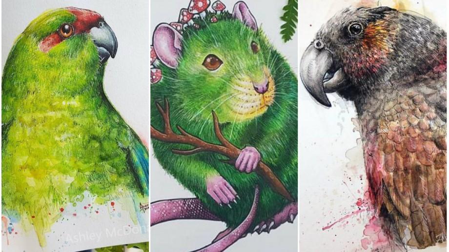 (foto) O tânără din Noua Zeelandă realizează portretele păsărilor și animalelor, în creioane colorate