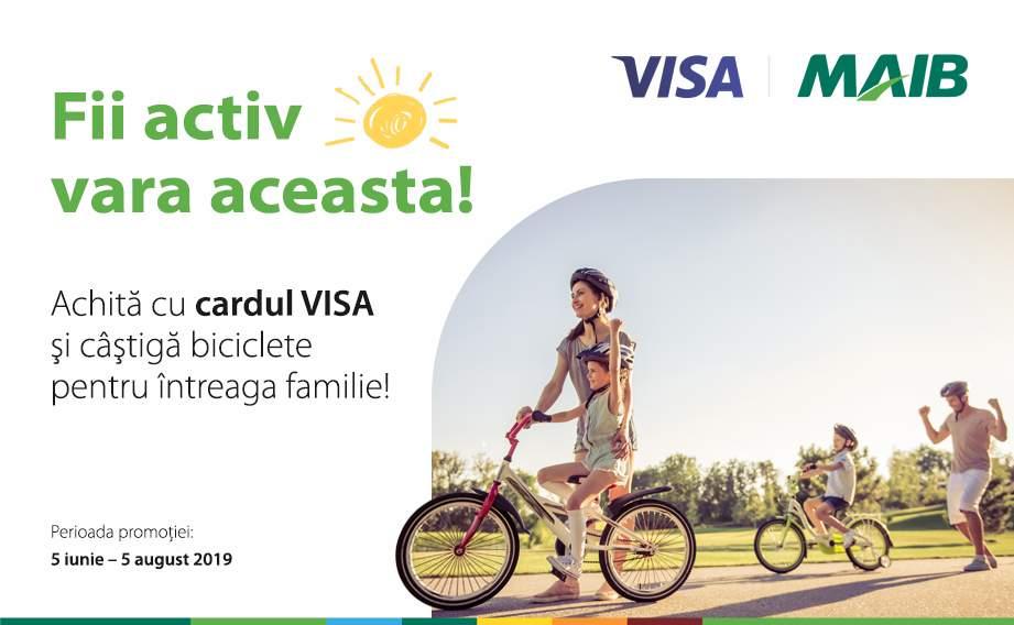 Vrei o vară activă? Câştigă o bicicletă achitând cu cardul VISA de la MAIB