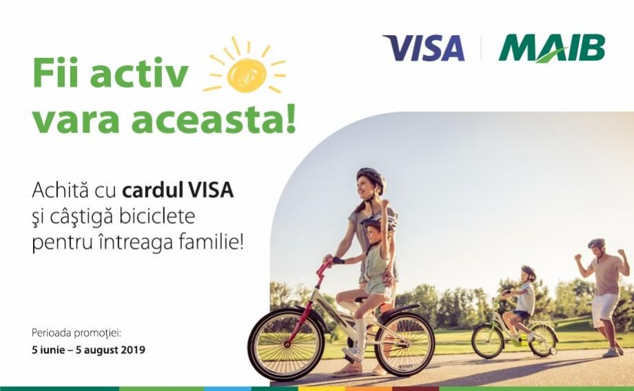 Biciclete de la MAIB şi VISA pentru achitările cu cardul bancar