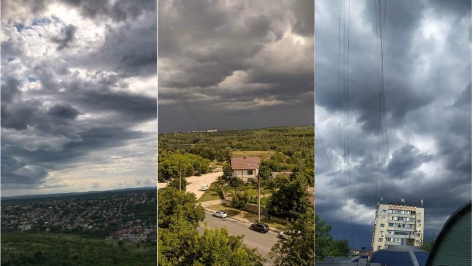 """(foto) Povestea norilor negri care au acoperit Moldova. Cum au surprins internauții """"codul galben"""" de astăzi"""