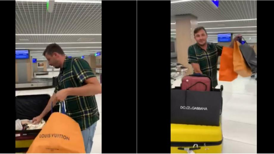 (video) Moldovenii la aeroport cu pungi de la Versace și Louis Vuitton. O nouă parodie marca Emilian Crețu