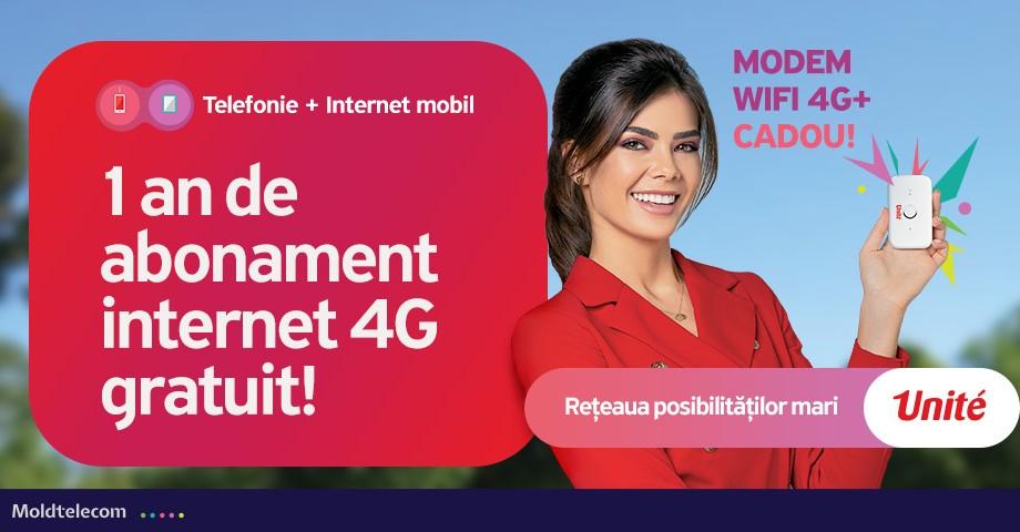1 an de abonament internet 4G gratuit de la Unite