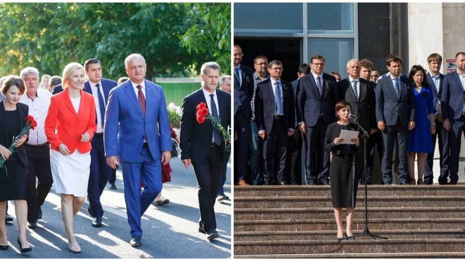 Contrastele zilei de 23 august. Igor Dodon sărbătorește la Comrat, Maia Sandu comemorează la Chișinău