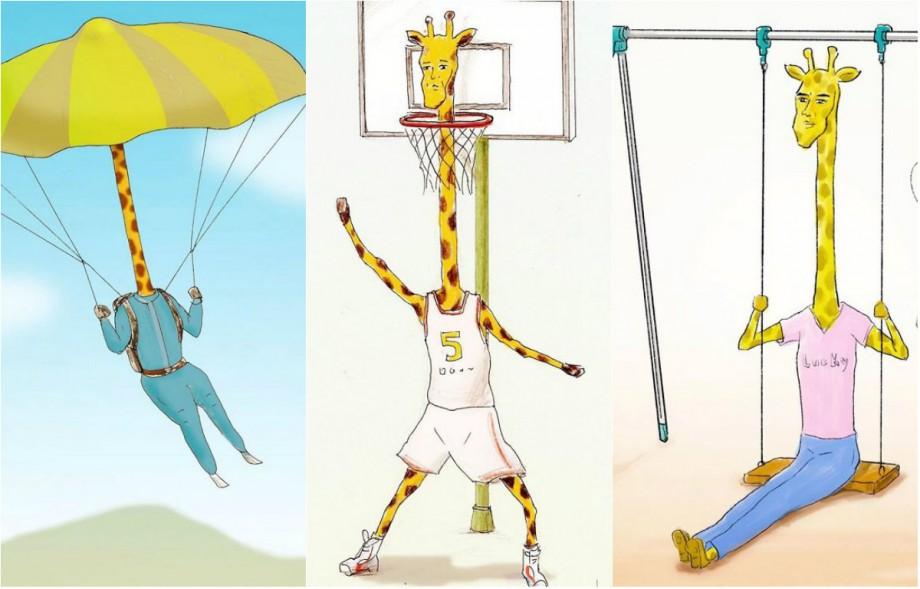 (foto) Ce ar fi dacă girafele ar juca baschet sau ar mânca pizza. Un ilustrator japonez a desenat mamiferul în situații cotidiene